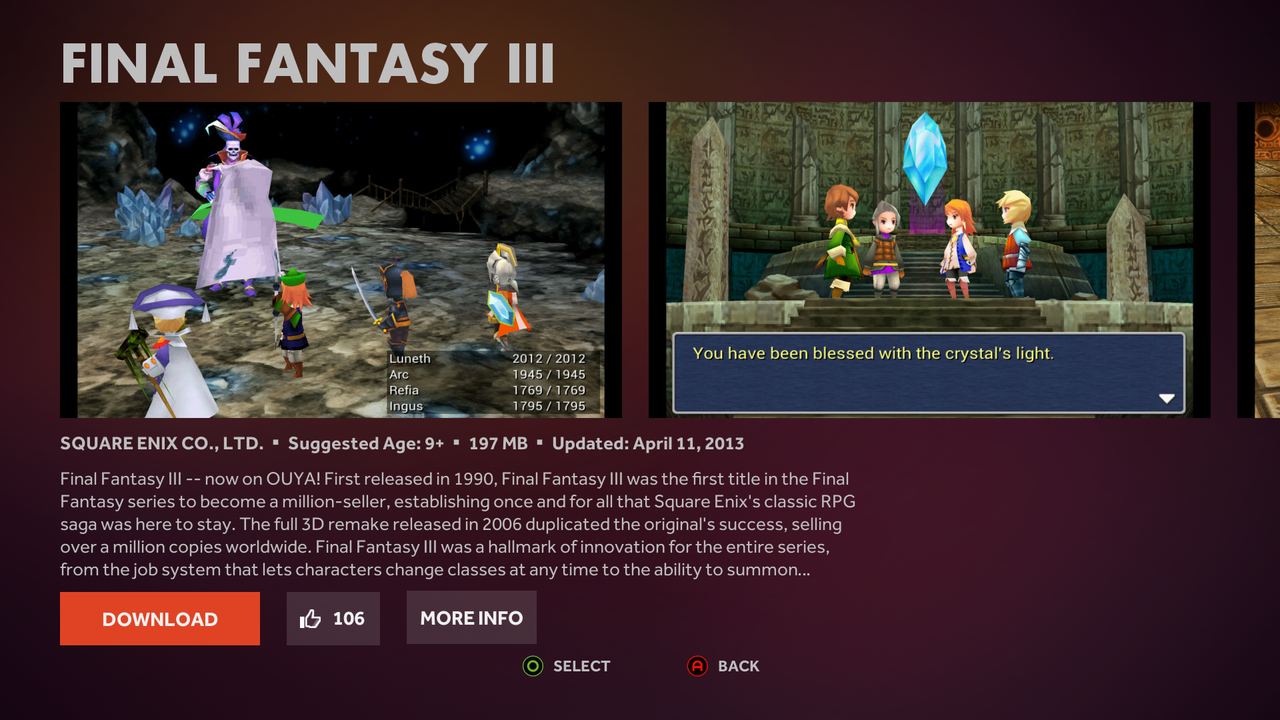 The game pages keep the relevant information right in front of you while throwing in a few screenshots.