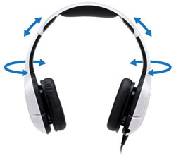 Here you can see how the ear cups swivel as well as extending the size of the headset